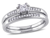 Princess Cut 1/3 Carat (ctw Color H-I Clarity I2-I3) Diamond Engagement Ring & Wedding Band Set  in 14K White Gold