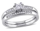 Princess Cut 1/3 Carat (ctw) Diamond Engagement Ring & Wedding Band Set  in 14K White Gold