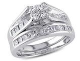 Princess Cut 1.0 Carat (ctw Color H-I Clarity I2-I3) Diamond Engagement Ring & Wedding Band 14K White Gold