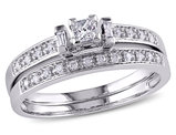 Princess Cut 1/3 Carat (ctw) Diamond Engagement Ring & Wedding Band Set in 10K White Gold