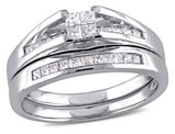 Princess Cut 1/2 Carat (ctw Color H-I Clarity I2-I3) Diamond Engagement Ring & Wedding Band Set  in 10K White Gold
