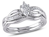 Marquise Cut 1/2 Carat (ctw) Diamond Engagement Ring & Wedding Band Set in 14K White Gold