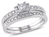 Diamond Engagement Ring & Wedding Band 1/2 Carat (ctw) Bridal Set in 14K White Gold