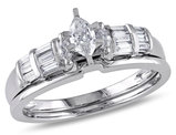 Marquise Cut 1/2 Carat (ctw Color H-I Clarity I2-I3) Diamond Engagement Ring & Wedding Band Set in 10K White Gold