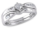Diamond Engagement Ring & Wedding Band  1/3 Carat (ctw) Set in 10K White Gold