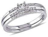 Princess Cut Diamond Engagement Ring & Wedding Band Set 1/5 Carat (ctw) in 10K White Gold