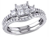 Princess Cut  1.0 Carat (ctw) Diamond Engagement Ring & Wedding Band Set in 14K White Gold