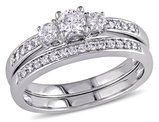 Three Stone Diamond 1/2 Carat (ctw)Engagement Ring and Wedding Band Set in 14K White Gold
