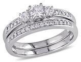 Three Stone Diamond 1/2 Carat (ctw)Engagement Ring and Wedding Band Set in 14K White Gold