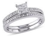 Princess Cut 1/3 Carat (ctw) Diamond Engagement Ring & Wedding Band Set in 10K White Gold