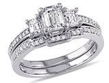 Emerald Cut Diamond Engagement Ring & Wedding Band Set 1.0 Carat (ctw) in 14K White Gold