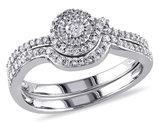 Diamond 1/3 Carat (ctw) Engagement Ring & Wedding Band Set in 10K White Gold