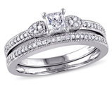 Princess Cut Diamond Engagement Ring & Wedding Band 1/2 Carat (ctw Color H-I Clarity I2-I3) 10K White Gold