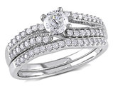 Round Diamond 3/4 Carat (ctw) Engagement Ring & Wedding Band Set  in 14K White Gold
