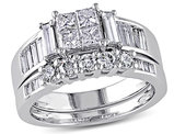 Princess Cut Diamond Engagement Ring & Wedding Band 1.50 Carat (ctw Color H-I Clarity I2-I3) 14K White Gold