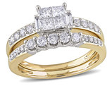 Princess Cut Diamond Engagement Ring & Wedding Band Set 1.0 Carat (ctw Color H-I Clarity I2-I3 ) in 14K White & Yellow Gold