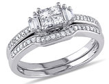 Princess Cut Diamond Engagement Ring & Wedding Band 1/2 Carat (ctw) Wedding Set  in 10K White Gold