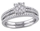 Princess Cut 1/2 Carat (ctw) Diamond Engagement Ring & Wedding Band Set in 14K White Gold