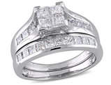 Princess Cut Diamond Engagement Ring & Wedding Band 2.0 Carat (ctw Color H-I Clarity I2-I3) Bridal Wedding Set in 14K White Gold