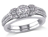 Diamond Engagement Ring and Wedding Band Set 1/2 Carat (ctw Color H-I Clarity I2-I3) in 10K White Gold