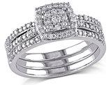 Diamond Engagement Ring & Wedding Band Set 1/3 Carat (ctw) in 10K White Gold