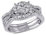 Diamond Engagement Ring & Wedding Band Set 3/4 Carat (ctw) in 10K White Gold