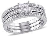 Princess Cut Diamond Engagement Ring & Wedding Band Set 3/8 Carat (ctw) in 10K White Gold
