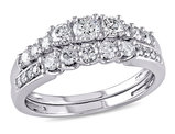 Diamond Engagement Ring & Wedding Band Set 4/5 Carat (ctw) in 14K White Gold