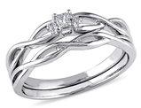 Princess Cut Diamond Engagement Ring & Wedding Band Set in 10K White Gold