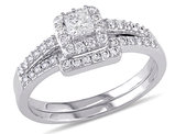 Princess Cut Diamond Engagement Ring & Wedding Band Set 5/8 Carat (ctw) in 10K White Gold
