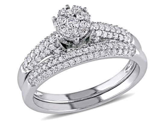 Diamond Engagement Ring and Wedding Band Bridal Wedding Set 1/2 Carat (ctw) in 14K White Gold