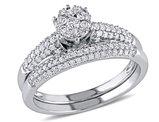 Diamond Engagement Ring and Wedding Band Bridal Wedding Set 1/2 Carat (ctw) in 14K White Gold