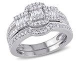 Diamond Engagement Ring & Wedding Band Bridal Wedding Set 1/2 Carat (ctw) in 10K White Gold