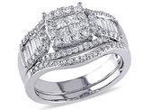 Princess Cut Diamond Engagement Ring & Wedding Band Set 1.20 Carat (ctw Clarity I2-I3 Color H-I ) in 14K White Gold