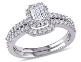 Emerald Cut 1.0 Carat (ctw Color H-I Clarity I2-I3) Diamond Halo Engagement Ring & Wedding Band Set in 14K White Gold