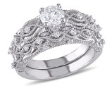 Diamond Engagement Ring & Wedding Band Bridal Wedding Set 1.25 Carat (ctw) in 10K White Gold
