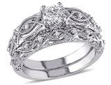 Diamond Engagement Ring & Wedding Band 3/4 Carat (ctw) Set in 10K White Gold