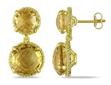 Catherine Catherine Malandrino 16 1/3 carat Citrine Circle Geometric Drop Earrings in Yellow Plated Sterling Silver