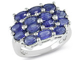 Catherine Catherine Malandrino 4 3/4 Carat (TGW) Oval Cut Sapphire Cluster Ring in Sterling Silver