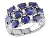 Catherine Catherine Malandrino 4 Carat (ctw) Oval Cut Sapphire Cluster Ring in Sterling Silver