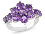 Catherine Catherine Malandrino 4 1/5 CT TGW Amethyst Cluster Ring in Sterling Silver