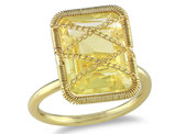 Catherine Catherine Malandrino 7 1/5 CT TGW Emerald Cut Citrine Crisscross Ring in Yellow Plated Sterling Silver