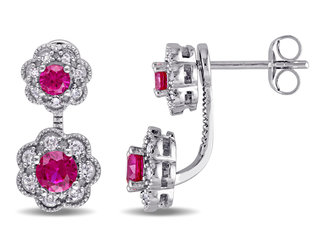 Laura Ashley Created Ruby stud Earrings 7/8 Carat (ctw) with Diamond 1/4 Carat (ctw) in 10K White Gold