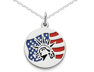 Sterling Silver Polished Statue of Liberty Pendant Necklace