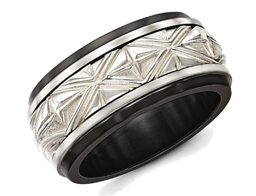 Edward Mirell Men's Black Titanium and Sterling Silver Wedding Band Ring