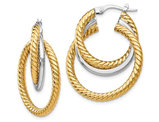 14K Gold Two-Tone Textured Tri-Hoop Geometric Dangle Earrings