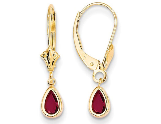14K Yellow Gold Leverback Ruby Dangle Earrings 1.00 Carat (ctw)