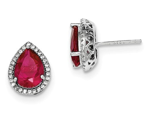 Created Ruby and Cz Earrings in Sterling Silver