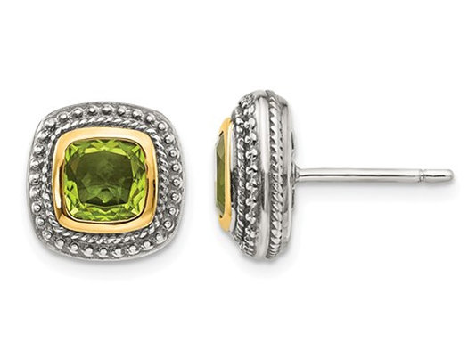 Peridot Earrings in Sterling Silver with 14K Gold Accents