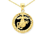 U.S. Marine Corp Charm Pendant Necklace in 14K Yellow Gold with Black Onyx